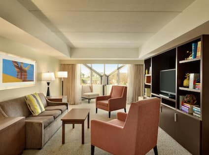 Seating and Large Window in Penthouse Living Room