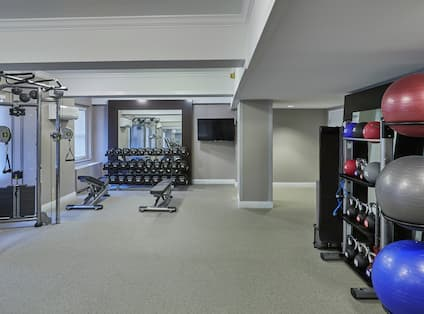 Exercise Balls and Weights in Fitness Center