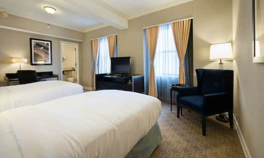 Room with Two Beds, Work Desk, and TV