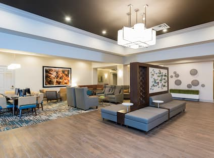 The lobby with soft seating and work area