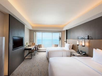 Double Singe Bed Hotel Guestroom