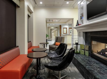 Social Space with HDTV and Fireplace