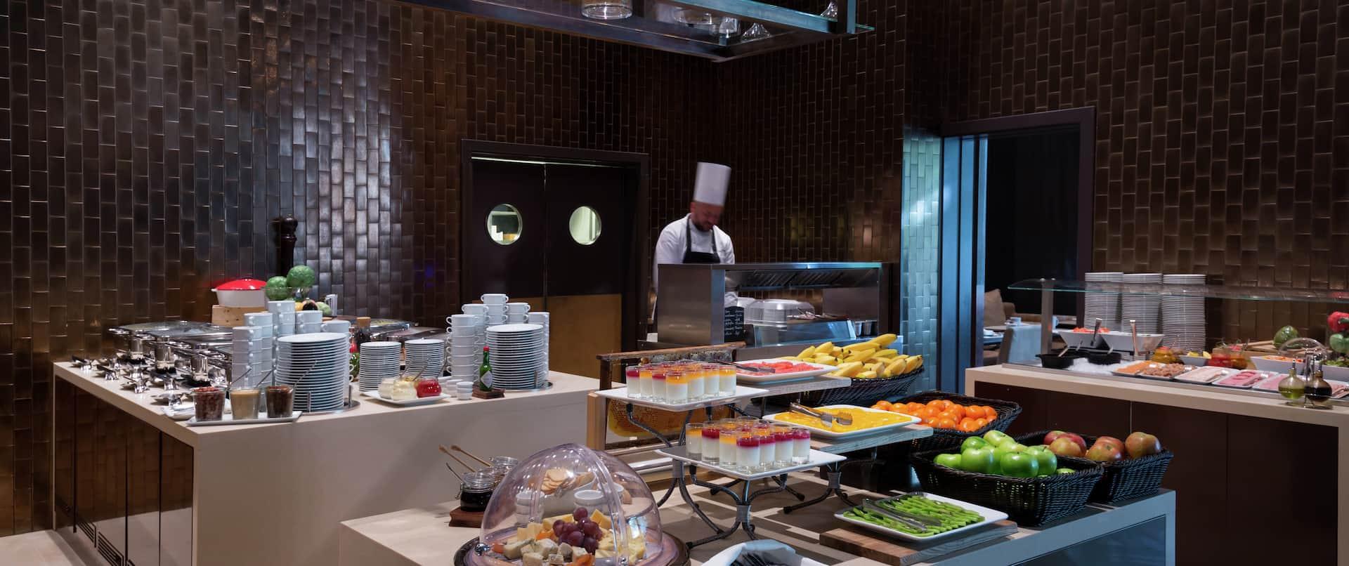Breakfast Bar Area with Staff Member