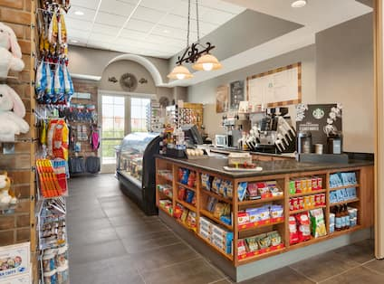 Gift shop with teddy bears and snacks