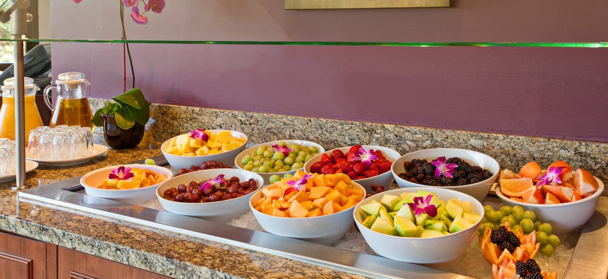 Fresh Fruit and Beverages on Food Service Counter