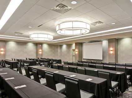 Angle view of classroom set up ballroom