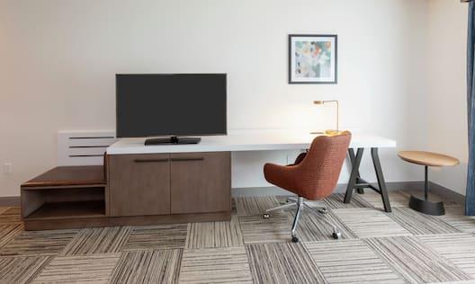King Guestroom Work Desk And TV