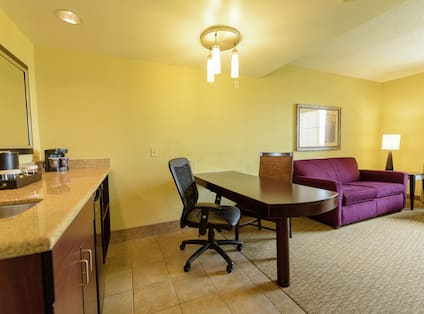 Work Desk, Kitchenette, and Lounge Area