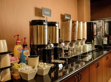 Breakfast Bar with Coffee and Cereal Options