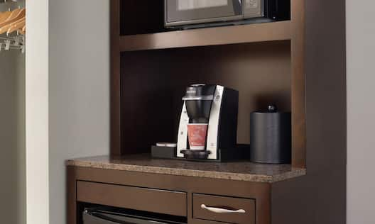In-Room Keurig Coffee Maker with Microwave and Mini-Fridge.