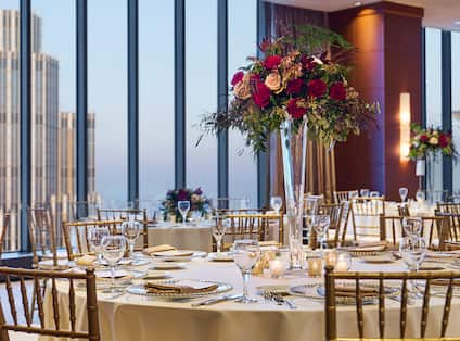 Ballroom Banquet Table with Outside View