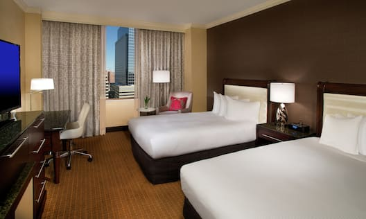 Double Beds and Daytime City View