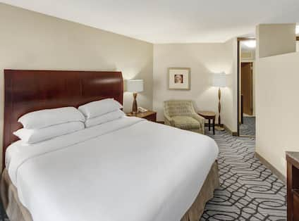 Guest Suite, 1 king bed, night table, lamp, lounge chair