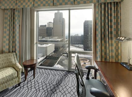 Guest Room, work desk, lounge chair, window view