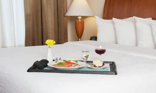 Guest Room Bed with Room Service Tray