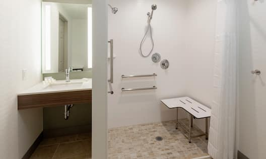 Accessible Bathroom Vanity and Roll-in Shower