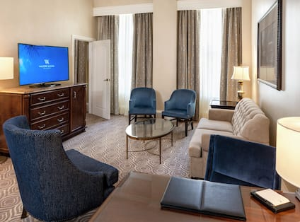 Living area with TV and comfortable seating area