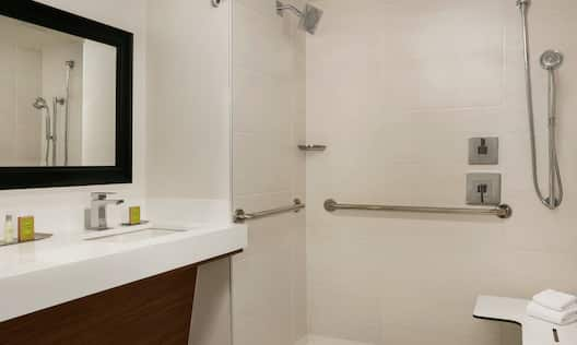 1 King Accessible Roll-In Shower and vanity