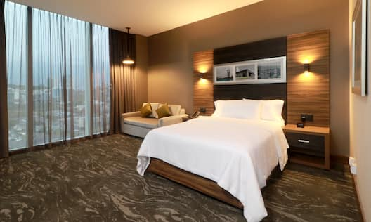 accessible guest room with one king bed and large window
