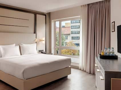 King Bed in Accessible Hotel Room with Amenities
