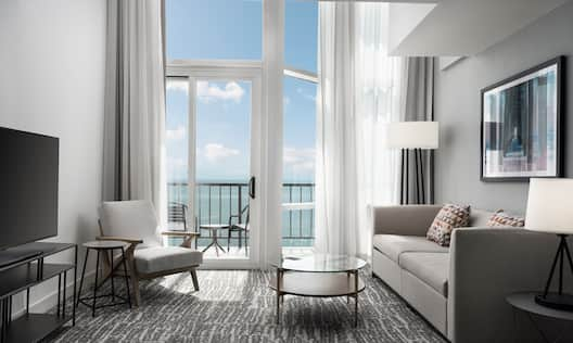 Living Room Area with Balcony and Beach View