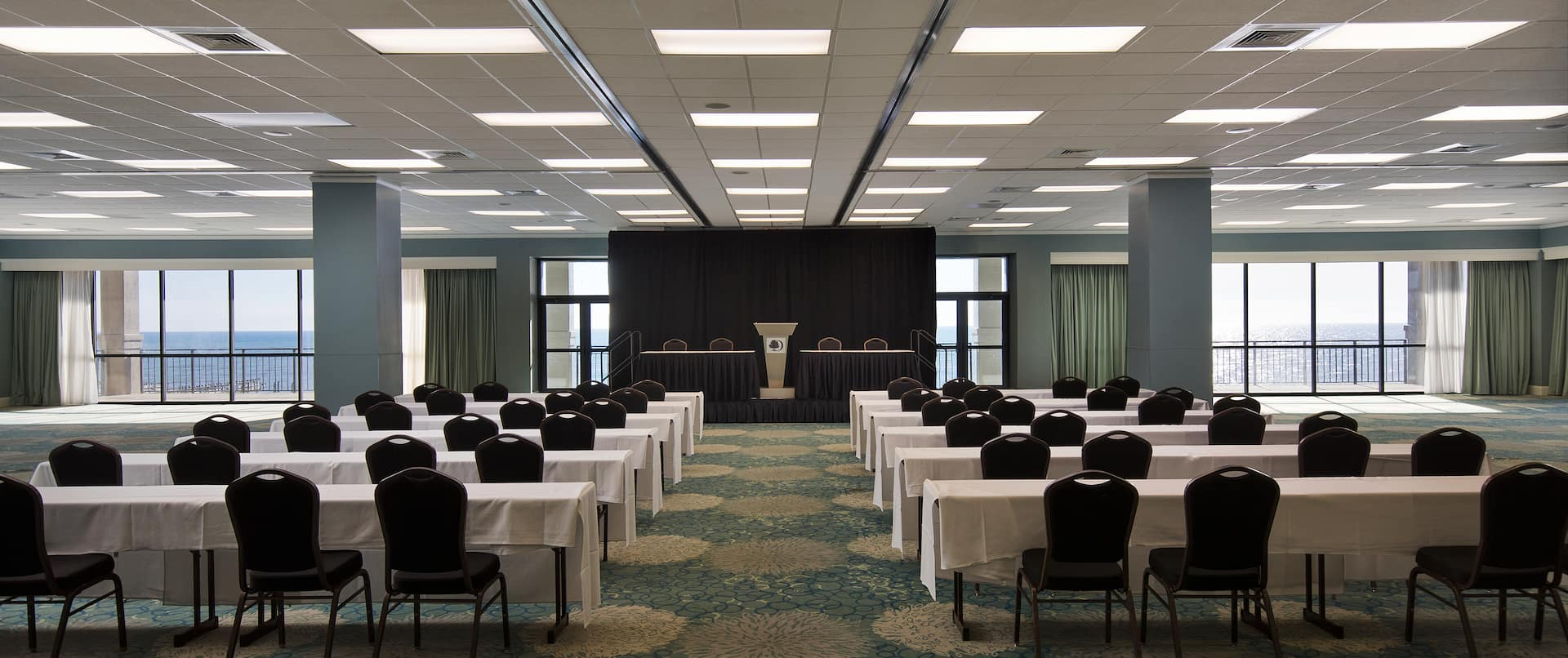Spacious Ballroom with Classroom Table Layout