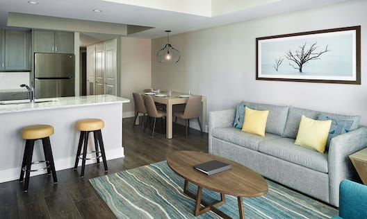 Living area with table and chairs