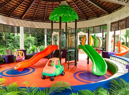 Childrens playground indoor area with slides