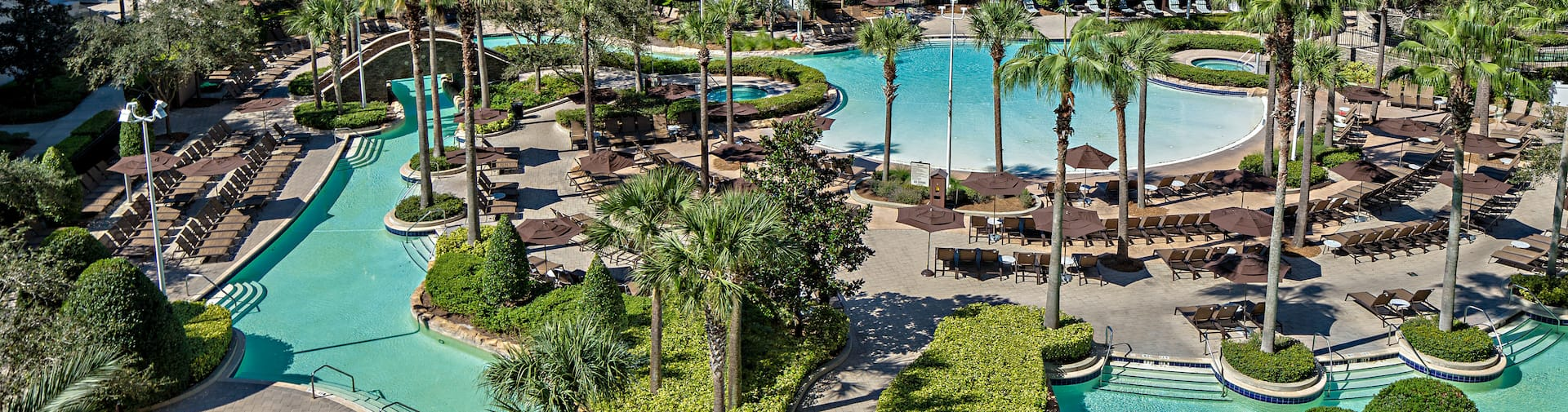 Aerial View of Large Outdoor Pool Area with Palm Trees
