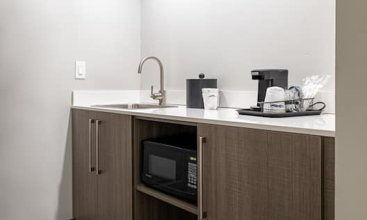 Wetbar with microwave and sink