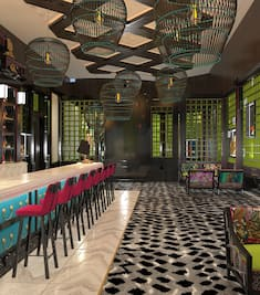 Genting Palace interior with seating at counter