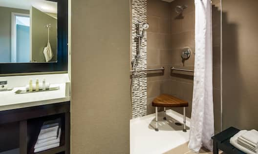 Large Vanity Mirror, Sink, Fresh Towels, Amenities, Roll-In Shower With Shower Seat, Grab Bars, and Handheld Showerhead in Accessible Bathroom