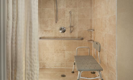 Guest Accessible Roll-In Shower with Seat