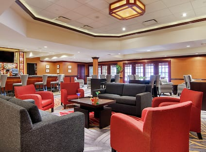 DoubleTree Hotel Lobby with Bar, Room Technology, and Lounge Area