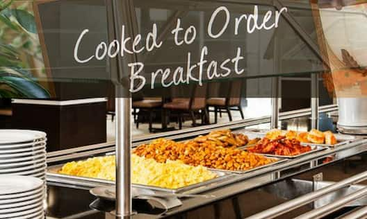 Complimentary Cooked To Order Breakfast Hot Food and Fruits