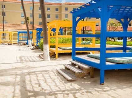 Blue and Yellow Beach Cabanas