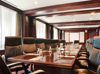 Boardroom Large Table with Leather Office Chairs