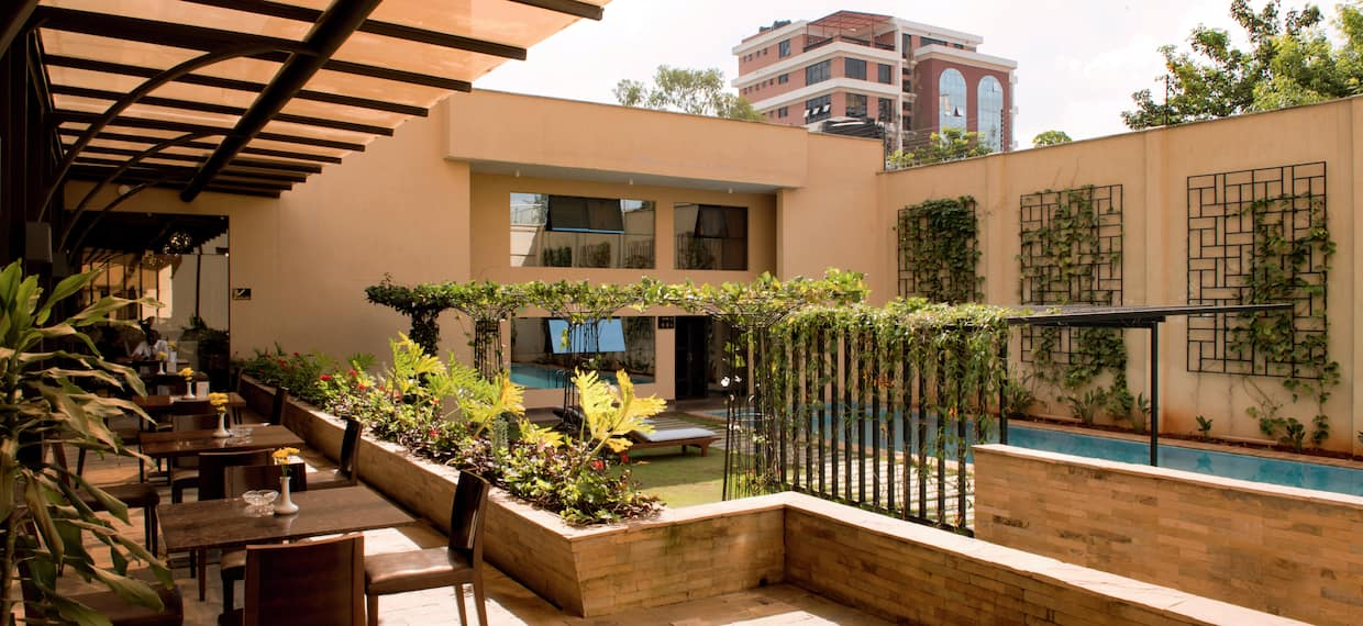 Courtyard with Seating Area and Foliage