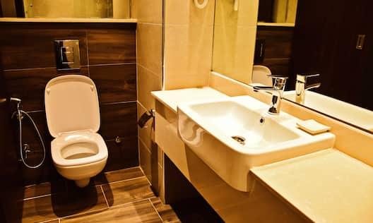 Guest Bathroom Toilet Mirror Sink Vanity Area