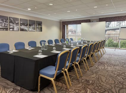 Small meeting room with boardroom set up