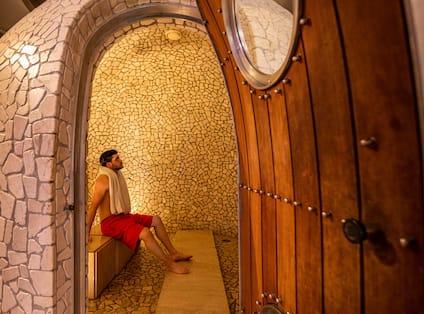 Person using Sauna in Spa