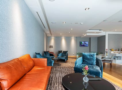 Executive Lounge Orange Couch and Chairs