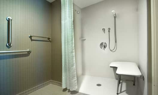 Vanity Mirror, Sink, Amenities, and Accessible Shower With Grab Bars and Handheld Showerhead