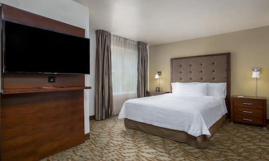 Stuidio Suite with a King Bed and Wall Mounted HDTV, Large Window and Lamps