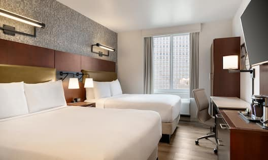 Two Double Beds with City View
