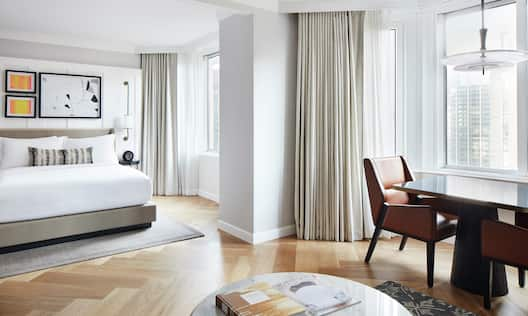 Bed in room with table