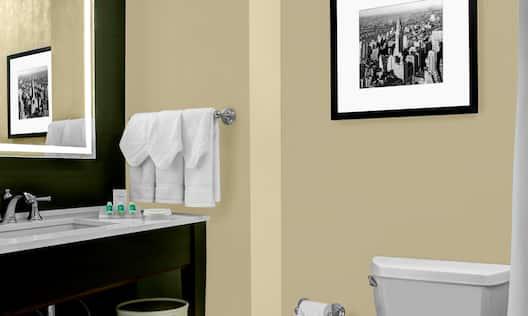 Guest Bathroom Mirror and Sink Vanity with Towel Holder