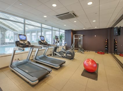 Fitness Center With Red Exercise Ball, Cardio Equipment Facing Windows With Pool View, Weight Machine, Aerobic Stepper, Weight Balls, TV, and Mirrored Wall