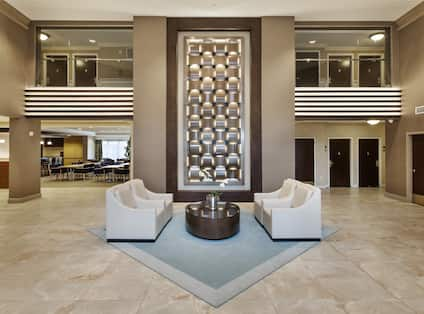 Large Art Feature and Lounge Seating in Main Lobby