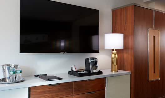 TV and Coffeemaker in Guest Room